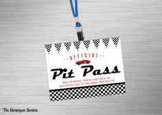 DIY Printable Pit Pass Invite for name badge - Race Car - Go Kart Party Hot Wheels Birthday, Hot Wheels Party, Race Car Birthday, Go Kart Party, Race Car Party, Fun Kart, Car Themed Parties, 9th Birthday Parties, Baby Birthday