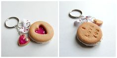 Jammie Dodger Polymer Clay Keyring by Sally Manchett