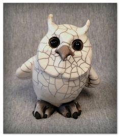 OOAK Raku Owl OXFORD sculpture by SmilesUnlimited