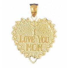 14K GOLD SAYING CHARM - I LOVE YOU MOM #9701