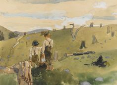 Winslow Homer (American, 1836-1910), Boys on a Hillside, 1879. Watercolor, gouache and pencil on paper, 21.3 x 28.9 cm.
