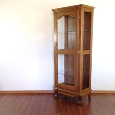 vintage clawfoot curio cabinet. retro furniture. curiosity display case.  | ReRunRoom |