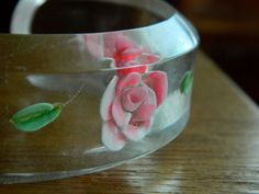 40s clear lucite bracelet . reversed carved rose by BeAtSaNdBoHoS, $54.00