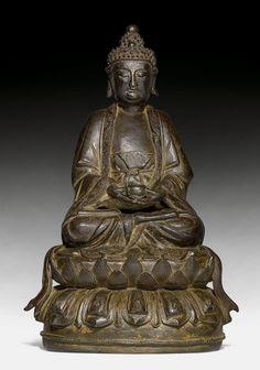 SITZENDER BUDDHA. China, Ming-Dynastie, H 32 cm.