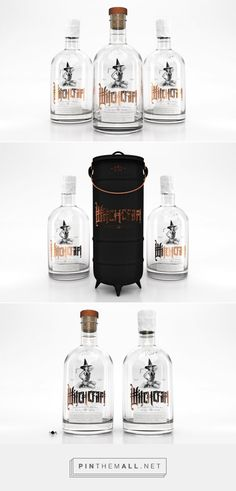 This is a very unique packaging for this witchcraft gin. The bottle features beautiful typography and illustrations of a witch in a wicken outfit and stockings bringing out the occult and supernatural theme. The text is in copper/bronze colour laid on a clear glass bottle. The outer sleeve is a matt black tall cauldron for the bottle to fit in with a bronze handle and metallic bronze witchcraft logo. The packaging surely brings out the supernatural and occult vibes perfect for Halloween.