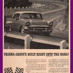 1957 Chevrolet Bel Air Hardtop Built Into the Road Vintage Ad from West Coast Vintage for $10.00 on Square Market