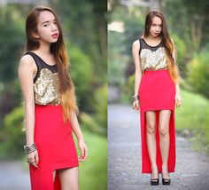 Sequined Top, Red Skirt