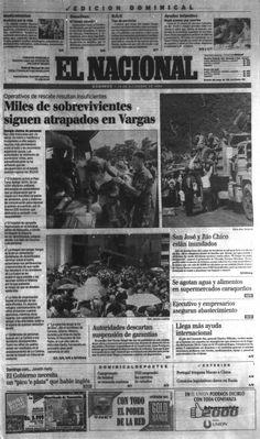 """""""Miles de sobrevivientes siguen atrapados en Vargas"""" tituló en la primera página de El Nacional publicado el 19 de diciembre de 1999"""