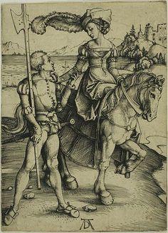 Lady on Horseback and Lansquenet (1497) - Albrecht Durer