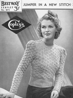 Bestway 571L: vintage ladies knitting pattern button neck jumper