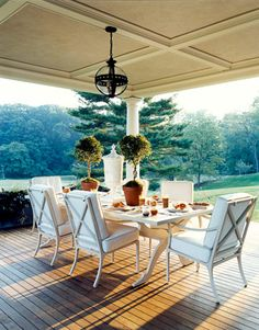Fabulous deck! Love the floor and detail on the ceiling. The furniture is McKinnon & Harris.