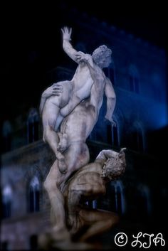 Dream Statue at Palazzo Vecchio - Piazza della Signoria - Florence - Fine Art Photograph 10x15 $30.00  by LJAPhotography, $30.00 I wanted to get everything in the background in a dreamy haziness to contrast against this powerful statue .Its is a Statue of by Giambologna.    It was at the famous Palazzo Vecchio with Piazza della Signoria .The square is also shared with the Loggia della Signoria, the Uffizi Gallery, the Palace of the Tribunale della Mercanzia (and the Uguccioni Palace .
