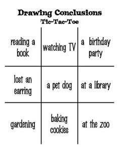 Two-Player game of Tic-Tac-Toe that focuses on the skill of drawing conclusions / making inferences. Reading Resources, Reading Strategies, Reading Skills, Third Grade Reading, Middle School Reading, Teaching Grammar, Student Teaching, Inference Activities, Teaching Drawing