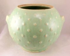 Vintage Nelson McCoy pottery round green hobnail cookie jar bottom only 1940