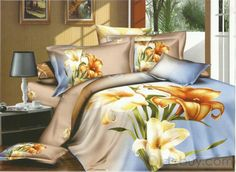 Excellent 4 Piece 100% Cotton Comforter Sets with Colorful Lily