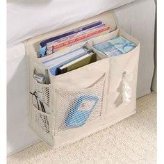 Bedside Storage Caddy is consider a top must have dorm room essential product. Some dorm stuff like our bedside caddy is a real need. Without this convenient products students must jump in and out of bed for the smallest of things. Bedside Caddy, Bedside Organizer, Bedside Storage, Storage Caddy, Camper Storage, Bed Caddy, Hanging Storage, Bedroom Storage, Fabric Storage