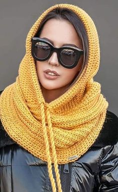 #fashion #crocheted  #knitted  #hat #fashionwinter #handmade Diy Crochet And Knitting, Crochet Needles, Crochet Shoes, Crochet Clothes, Crochet Stitches, Crochet Blouse, Crochet Hooded Scarf, Knitted Shawls, Crochet Scarves