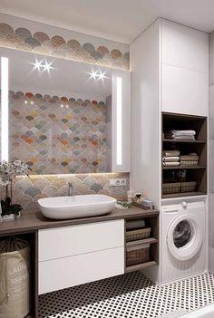 47 Best Modern Bathroom Tile Inspirations For Your Beautiful Bathroom in 2020 Modern Bathroom Tile, Diy Bathroom Decor, Laundry In Bathroom, Bathroom Design Small, Bathroom Interior Design, Bathroom Ideas, Master Bathroom, Boho Bathroom, Small Laundry