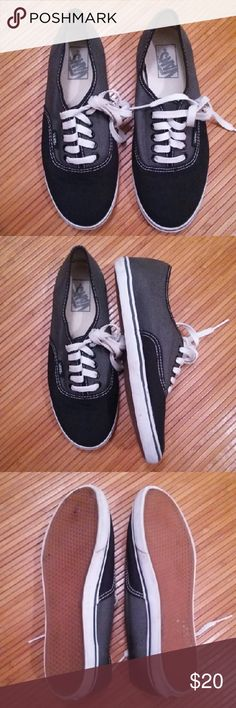 Vans gray black shoes sz.8 Vans gray black shoes sz.8  Very good used condition  Upper in top shape...rim needs cleaning...not much sole wear Vans Shoes Sneakers