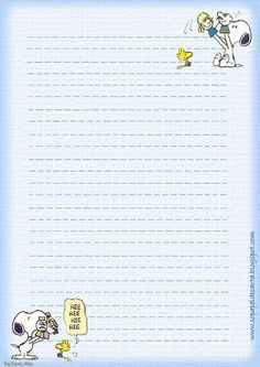 Letterheads and Envelopes - Letterheads and Envelope - Letterheads and Envelope for Printing: Snoopy Printable Lined Paper, Free Printable Stationery, Snoopy And Woodstock, Stationery Paper, Planner Pages, Note Paper, Recipe Cards, Note Cards, Envelopes