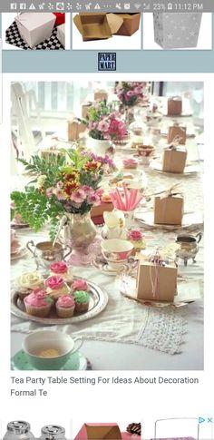 Table setting Tea Party Table, Tea Time, Table Settings, Table Decorations, Home Decor, Decoration Home, Room Decor, Place Settings, Home Interior Design