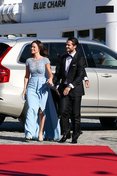 Prince Carl Philip of Sweden and Sofia Hellqvist arrive for the prewedding dinner for Prince Carl Philip of Sweden and Sofia Hellqvist on June 12...