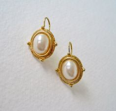 Vintage Early 90s Traditional Preppy Signed Avon Goldtone Faux Pearl Earrings by ThePaisleyUnicorn, $6.00