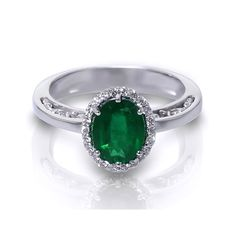Oval Emerald Halo Ring in 14k White Gold Plated Over Sterling Silver