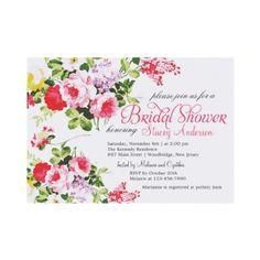 Vintage Floral Bridal Shower Whimsical Invites by jardinsecret