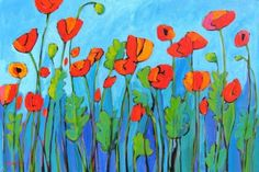 Poppies on Blue Sky - Giclee Print (Funny how much this looks like my version.)