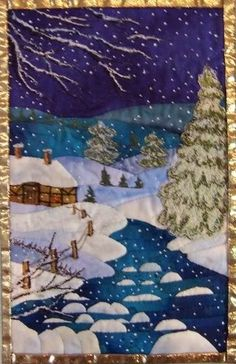 Renske Helmuth landscape quilt.  The snow is French knots.