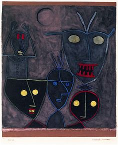 "dappledwithshadow: "" Demonic Puppets Paul Klee 1929 Private collection Painting - gouache Height: 37 cm (14.57 in.), Width: 25 cm (9.84 in.) """
