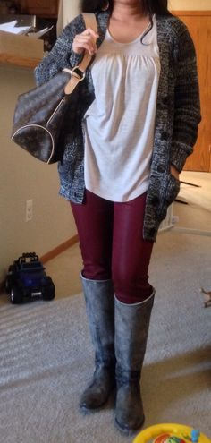 Cozy outfit. Coated jeggings. cardigan. Frye Lindsay boots. Louis Vuitton Delightful PM. American Eagle top. Earrings from Anthropologie.