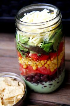 Get ready for the most delicious and mind-blowing salad that's layered with ease in a mason jar. Check out this easy recipe for a vegetarian version of taco salad that stays fresh due to stacking the ingredients in the right order. And there's nothing to it — just toss before eating.  Make it a full and hearty meal by adding a Southwestern corn soup!                    Source: POPSUGAR Photography / Jenny Sugar