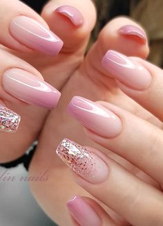 Elegant Nails, Classy Nails, Stylish Nails, Simple Nails, Pink Acrylic Nails, Pink Nails, Gel Nails, Manicure, Classy Nail Designs