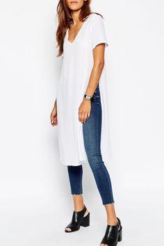 White Plunging Neck Short Sleeve T-Shirt WHITE: Tees | ZAFUL