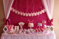 New Ideas party background pink dessert tables Pink Dessert Tables, Dessert Buffet Table, Lolly Buffet, Buffet Tables, Buffet Ideas, Party Buffet, Rosa Desserts, Pink Desserts, Sweet 16 Parties