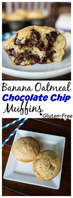 ohne Zucker-> Quick and easy gluten free banana muffins you can make in the blender. No oil either! Banana Oatmeal Chocolate Chip Muffin Recipe (quick and easy breakfast food) Muffins Sans Gluten, Dessert Sans Gluten, Gluten Free Desserts, Gluten Free Recipes, Healthy Recipes, Healthy Foods, Gluten Free Banana, Gluten Free Chocolate, Cupcakes