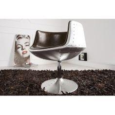 Chaise en fibre de verre coloris argent et marron