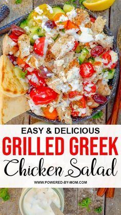 This grilled Greek chicken salad is a perfect light and refreshing choice loaded with protein and tons of delicious Mediterranean flavours! Greek Chicken Salad, Chicken Salad Recipes, Pasta Recipes, Dinner Recipes, Easy One Pot Pasta Recipe, Tzatziki Recipes, Chicken Appetizers, Allrecipes, Grilling