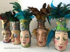 """""""Jar Heads""""- by Lisa Renner. Whimsical, polymer clay sculpted faces on jars. Each vessel holds a feather-topped pen. Available on my Etsy shop!"""