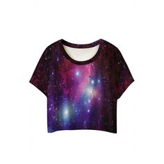 Round Neck Galaxy Print Short Sleeve Cropped Tee ($8.08) ❤ liked on Polyvore featuring tops, t-shirts, cosmic t shirt, galaxy print t shirt, galaxy top, galaxy tee and short sleeve tops