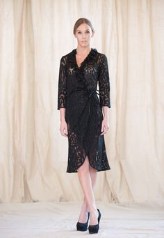 Women's Wrap Dress with ruffled collar, by Rebecca Bruce by RebeccaBruce on Etsy