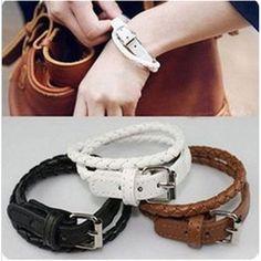 PU leather bracelets Ms. bracelet punk alloy bracelet wrap