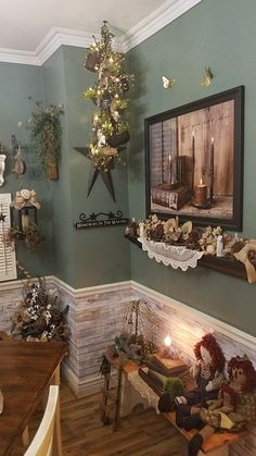 Charming Country Decor Ideas Simply contemporary styling tricks to organize that super satisfying and attractive country decor diy living room . Whip smart idea shared on this date 20190201 , country decor reference 9363635752 Primitive Living Room, Primitive Bathrooms, Primitive Homes, Primitive Kitchen, Country Primitive, Easy Primitive Crafts, Prim Decor, Country Decor, Rustic Decor