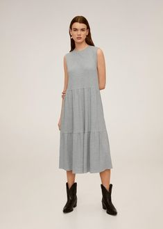 Midi design Flared design Rib knit fabric Rounded neck Sleeveless Ruffle details on the skirt Mango Presents, Ribbed Dress, The Dress, Knitted Fabric, Rib Knit, Latest Fashion Trends, Lounge Wear, Ideias Fashion, Cold Shoulder Dress