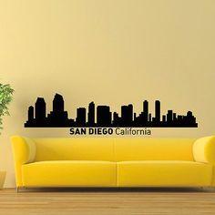 WALL DECAL VINYL STICKER SAN DIEGO CALIFORNIA SKYLINE CITY SILHOUETTE DECOR SB65