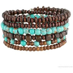 Wood & Turquoise Bead Coil Bracelet on Sale for $12.99 at Hippie Shop ($99) ❤ liked on Polyvore featuring jewelry, bracelets, beading jewelry, wood bangles, wooden bangles, wooden bead jewelry and wood jewelry
