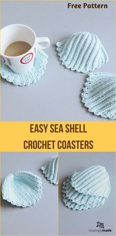 Crochet Sea Shell Coasters, anyone? Let's get hooking with this fun crochet coaster pattern. Easy enough for a beginning crocheter, textured enough for the experienced crocheter. Try it! #crochetcoasters #seashellcoaster #seashellpattern #clamseashell #beginnercrochetpattern