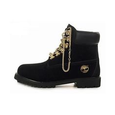 Gold Chain Timberlands ($250) ❤ liked on Polyvore featuring shoes, boots, ankle booties, timberlands, tims, black, black booties, studded boots, gold boots and black studded boots